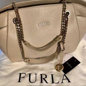 FURLA Julia Cream Beige Leather Tote Shoulder Bag